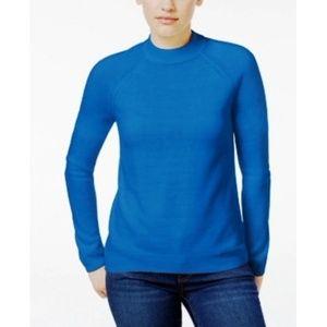 Karen Scott Mock Neck Sweater Pacific Blue